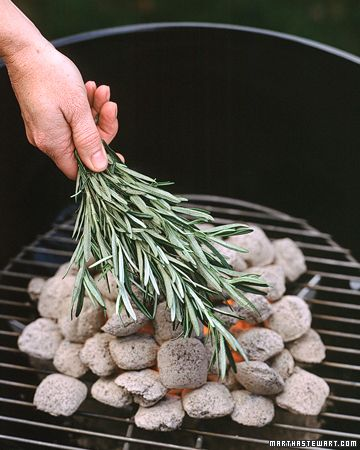 Instead of making a marinade with rosemary for grilling, place the herb right on the coals. The smoke enhances food in the same way burning wood chips does. Once the coals are uniformly gray and ashy, loosely cover them with fresh rosemary branches (be careful not to burn your hands). Almost any meat or vegetable will benefit from this savory smoking.    Read more at Marthastewart.com: Summer Decorating Projects, Crafts, and Party Ideas - Martha Stewart: Ideas, Herbs, Food, Meat, Fresh Rosemary, Martha Stewart, Wood Chips, Grilled, Camps Hacks