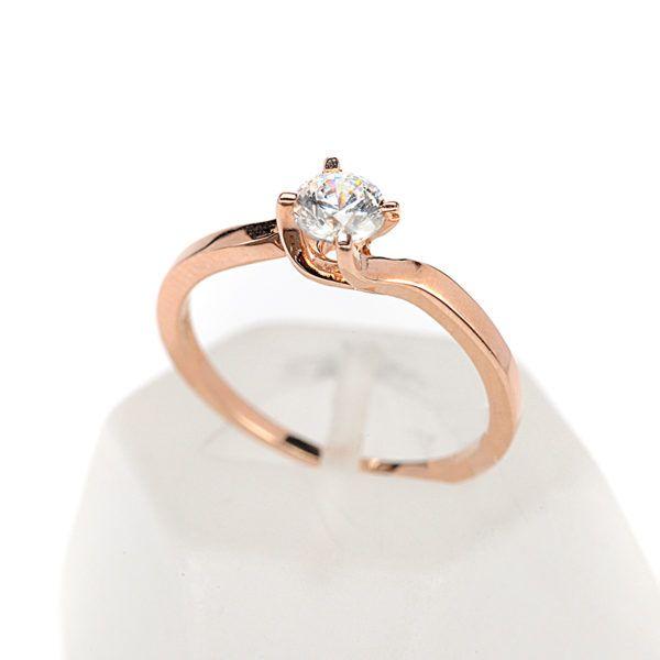 Μονόπετρο δαχτυλίδι Al'oro  Κ18 ροζ χρυσό  διαμάντι 1496