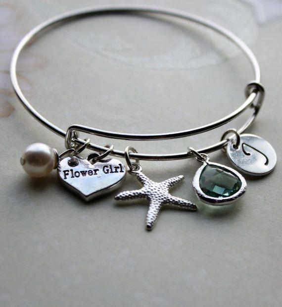 beach theme flower girl bracelet beach flower by loveherbyalissa
