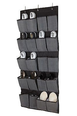 20 Pocket Over The Door Hanging Shoe Organizer/Caddy In Grey/Black