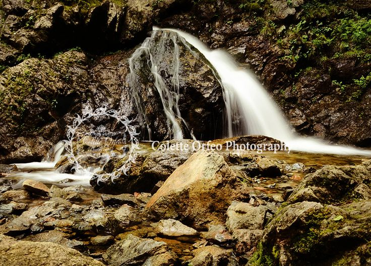 Waterfall Photography Backdrop. River rocks and a lovely waterfall located at Uisge Ban Falls Trail, NS. To order backdrop visit www.backdropscanada.ca
