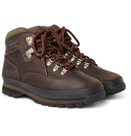 'Whether it's a rocky trail [or] shag carpet', <a href='http://www.mrporter.com/mens/Designers/Timberland'>Timberland</a>'s 'Euro' boots are built for almost any terrain. They're made from robust brown leather with army-green nubuck trims and finished with padded collars and plush jersey linings for comfort. The EVA midsoles provide a responsive and adaptive fit underfoot and unparalled traction is provided by ...