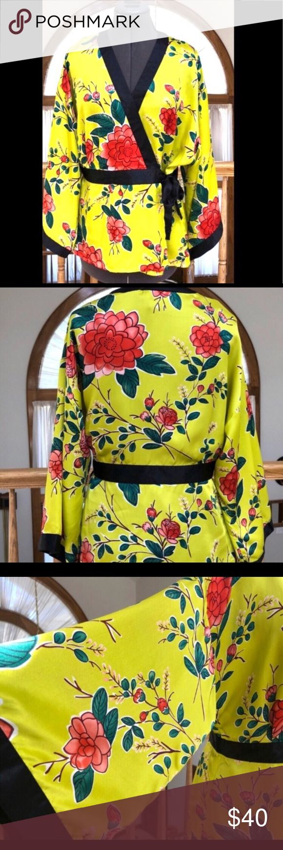 Silk Chartreuse & Pink Floral Kimono with Black Stunning 100% Silk Chartreuse Green Kimono Top with Lipstick Red Lotus Flowers. Top has button at cleavage & button at waist, Black Ribbon Side Tie at  Waist Sz Large NWT From a smoke free pet free home Spenser Jeremy Tops