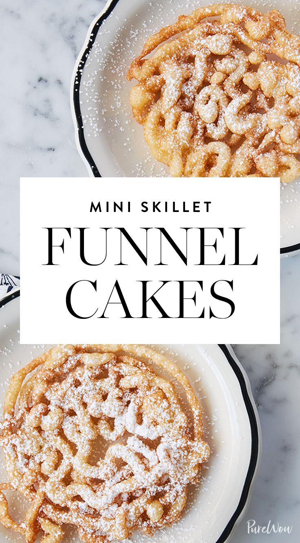 Mini Skillet Funnel Cakes via @PureWow