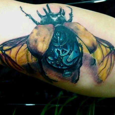 mechanical beetle tattoo realistic