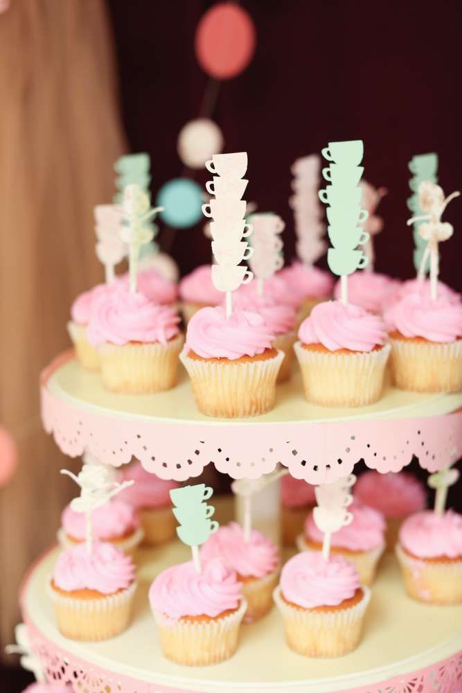 Teacups and tutus tea party cupcakes! See more party ideas at CatchMyParty.com!