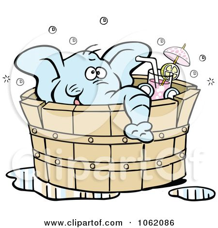 1062086-Clipart-Elephant-Drinking-In-A-Hot-Tub-Royalty-Free-Vector-Illustration.jpg (450×470)