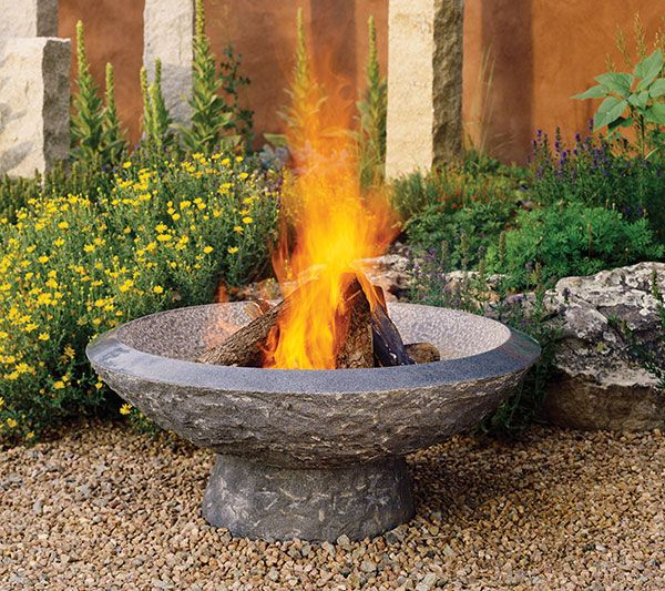 Outdoor stone fire bowl hypertufa cement and concrete for Outdoor fire bowl