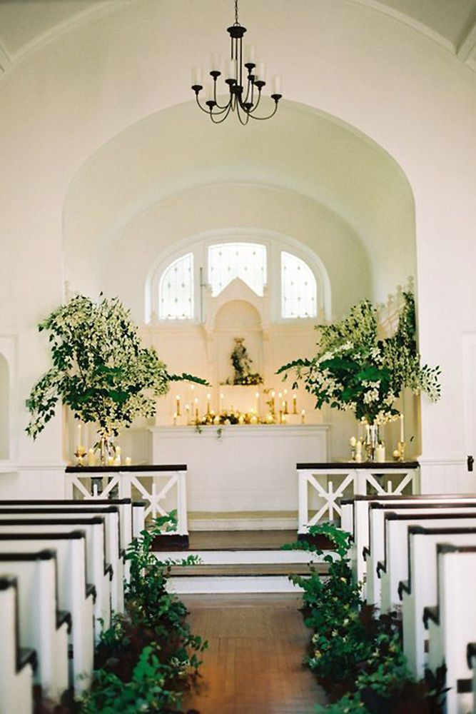 church wedding decorations candles%0A church wedding decorations aisle and altar decorated with greenery and  candles sweet southern charm
