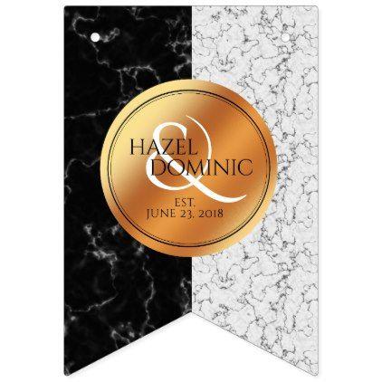 Elegant Marble & Copper Foil Wedding Bunting Flags - elegant wedding gifts diy accessories ideas