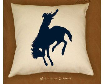 Cowboy Pillow Cover Western Bronco Horse by henhouseoriginals