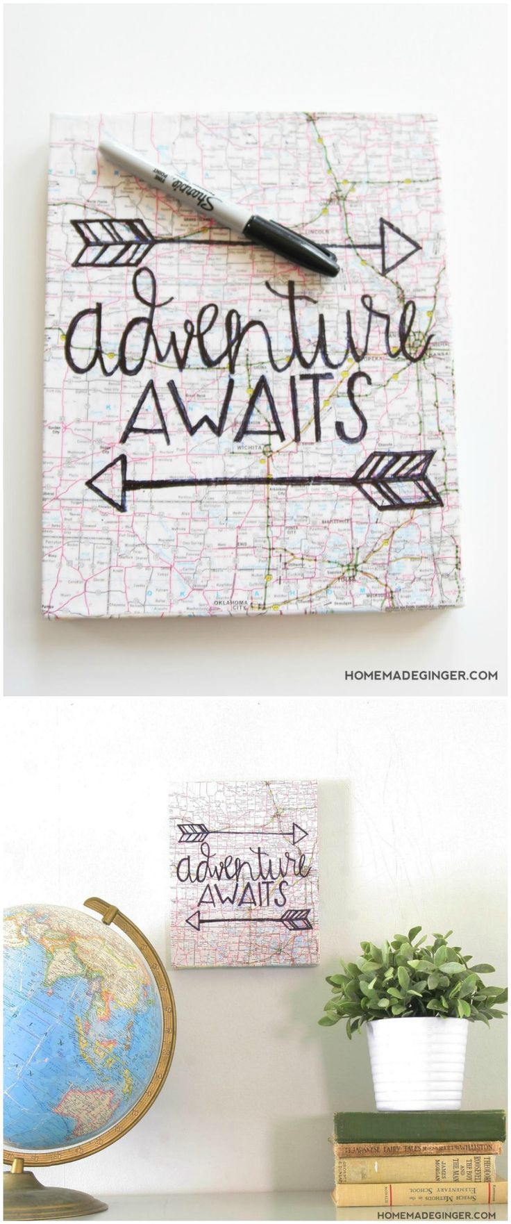 This unique hand lettered canvas art can be customized with a variety of different papers, maps, or book pages to fit the space you are decorating!