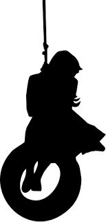 Girl Swinging on Tire Silhouette SVG