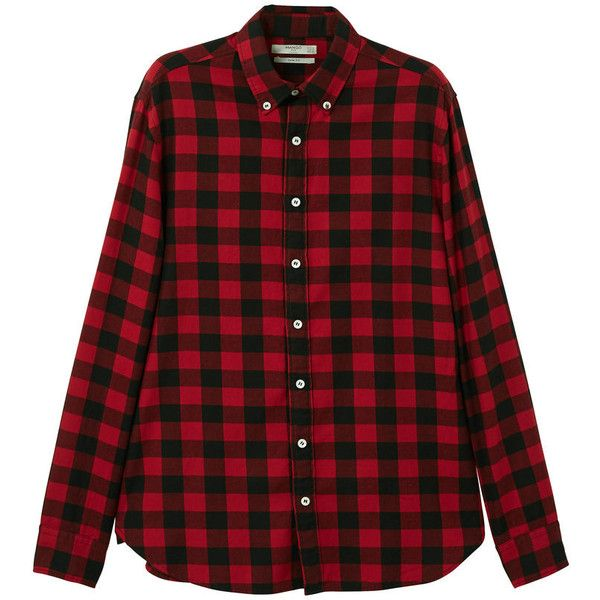 Slim-Fit Check Flannel Shirt ($48) ❤ liked on Polyvore featuring men's fashion, men's clothing, men's shirts, men's casual shirts, red, mens red button down shirt, mens checkered shirts, mens slim fit shirts and mens long sleeve flannel shirts