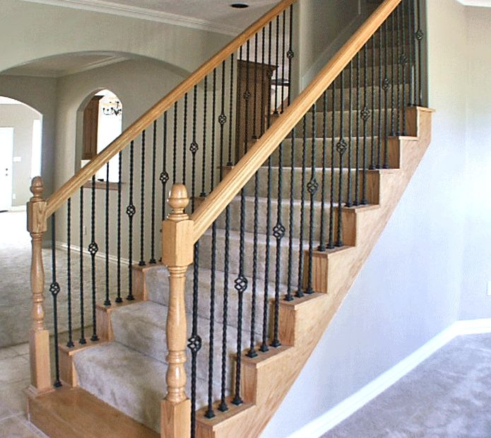 Rod Iron Stair Railing Part - 39: Get Rid Of The Fully Carpeted Stairs, Just A Carpet Runner And Wrought Iron  Spindles To Open Up The Area! (But With Wood Painted White)