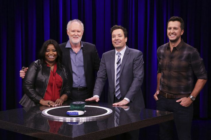 "THE TONIGHT SHOW STARRING JIMMY FALLON -- Episode 0635 -- Pictured: (l-r) Actress Octavia Spencer, actor John Lithgow, host Jimmy Fallon, and musical guest Luke Bryan during ""Catchphrase"" on March 2, 2017 -- (Photo by: Andrew Lipovsky/NBC)"