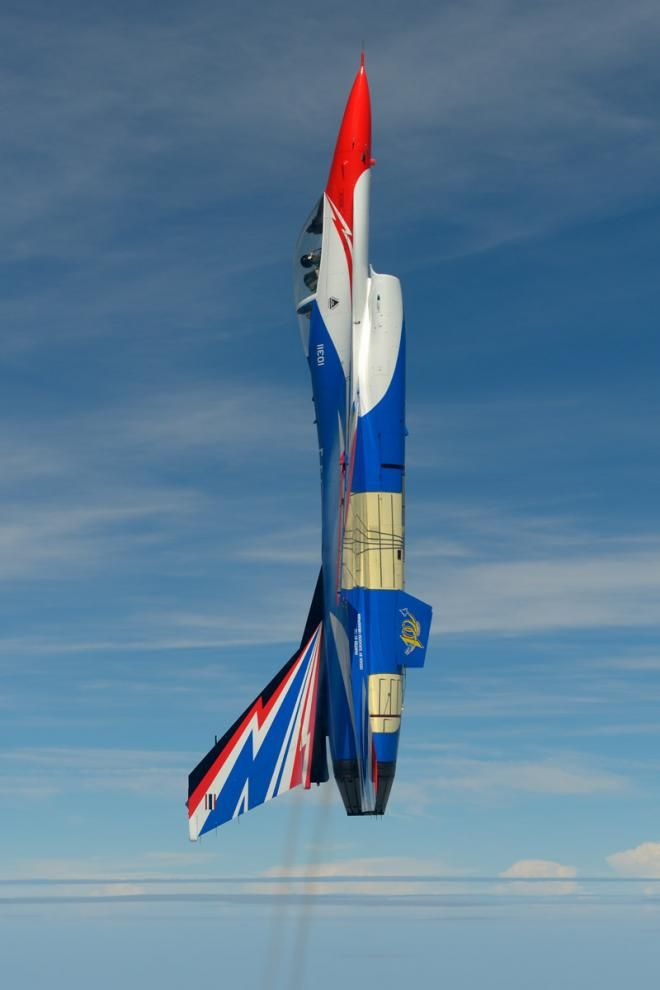 The paint scheme for the F-16s of the Royal Thai Air Force Demonstration team is the work of Sukasom Hiranphan, a civilian who is credited with the designs of several RTAF aircraft special markings and squadron patches. He created several initial designs for the Centennial Falcon for RTAF officials to consider before the current design was chosen.