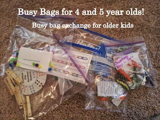 Busy Bags for 4 and 5 year olds. Busy bags for older kids.
