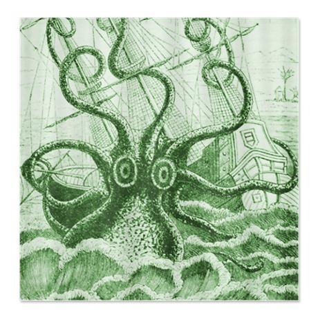 Green Kraken Shower Curtain - apparently also green