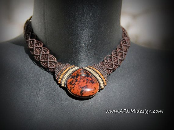 Elegant FIBER necklace with mahogany OBSIDIAN stone, dark BROWN micro makrame choker with stone