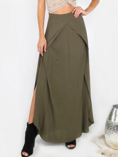 Overlap Slit Maxi Skirt OLIVE