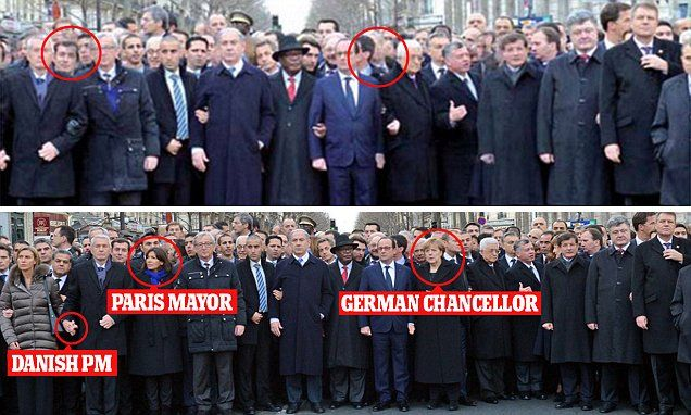 The original image (bottom) shows German Chancellor Angela Merkel, Paris Mayor Anne Hidalgo, and Danish Prime Minster, Helle Thorning-Schmidt -  removed from Israeli front page (above).