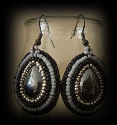 Hematite drops:  bead embroidered earrings