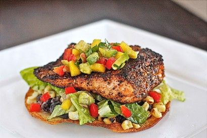 Chili-Rubbed Salmon and Grilled Corn Tostada with Mango Avocado Salsa | Tasty Kitchen: A Happy Recipe Community!