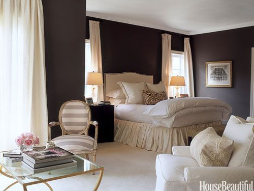 Walls in an Austin, Texas, master bedroom are painted Pratt & Lambert's Wolf, a warm gray with a hint of chocolate.: Wall Colors, Houses Beautiful, Beds Skirts, Austin Texas, Master Bedrooms, Dark Bedrooms, Bedrooms Ideas, Cozy Bedrooms, Dark Wall