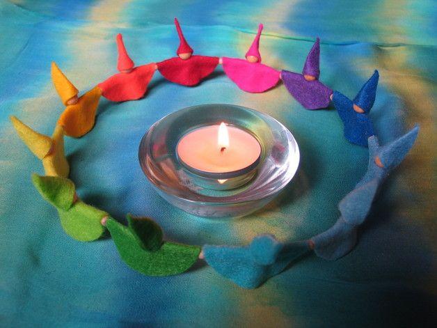 Zwergenkreis Teelichtreigen Geburtstagskranz