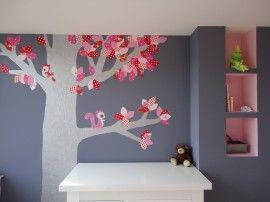 behangboom model Ellen:zilver/roze/rood