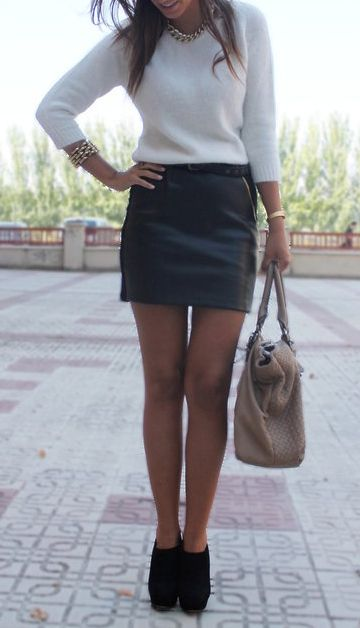 Black leather skirt, angora style sweater , gold bangles & oversized bag - cute fall/winter look