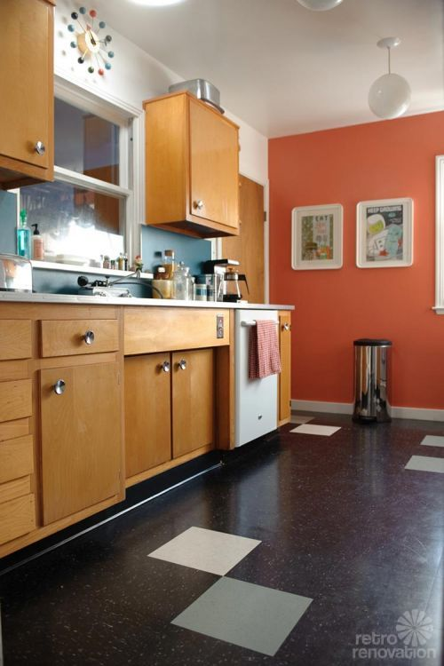 Sarah S Super Economical Retro Kitchen Remodel Featuring Salvaged Vintage Wood Cabinets Mid Century