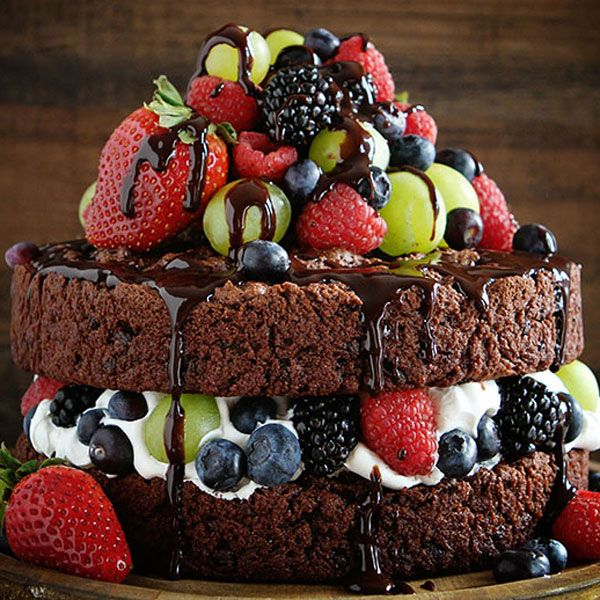 The only thing better than chocolate-covered fruit is chocolate-covered fruit in cake form.  Get the recipe at I Am Baker.  Amanda Rettke is the founder of the popular blog, i am baker. She began her food blogging career in 2010