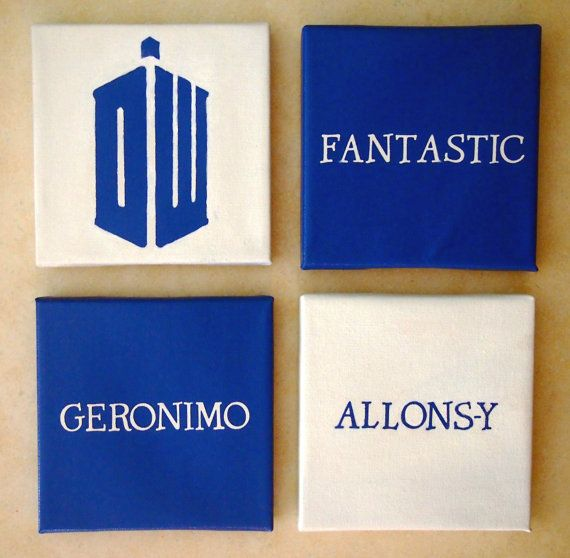 Doctor Who Catchphrase Canvas Tiles: Fantastic, Allons Y, And Geronimo +  Logo