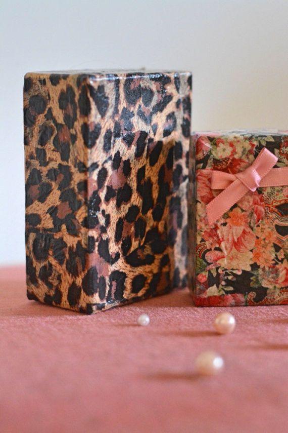 Vintage Burlesque Style Decoupage Business Card Holder-Leopard