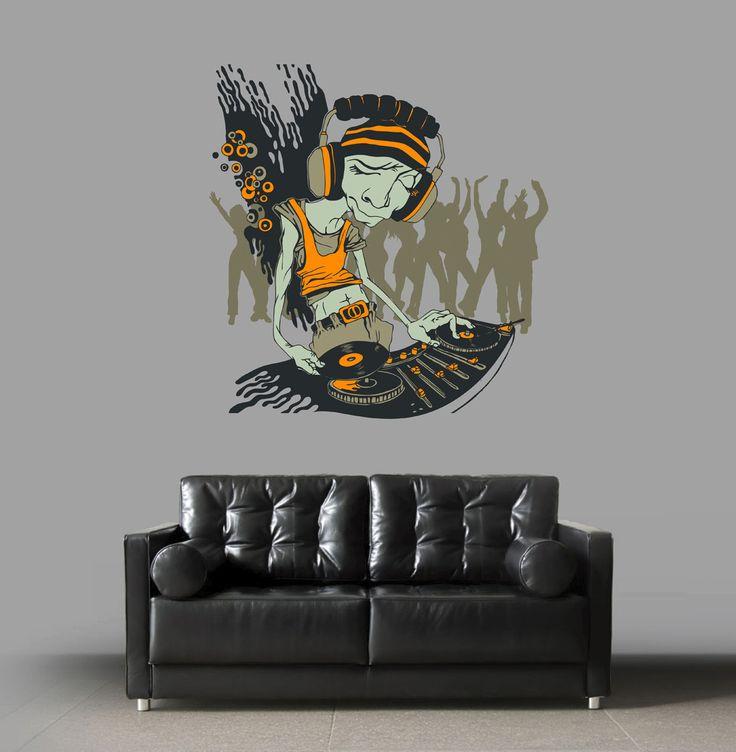 cik282 Full Color Wall decal DJ Music Mixer mix bass speakers bedroom living room