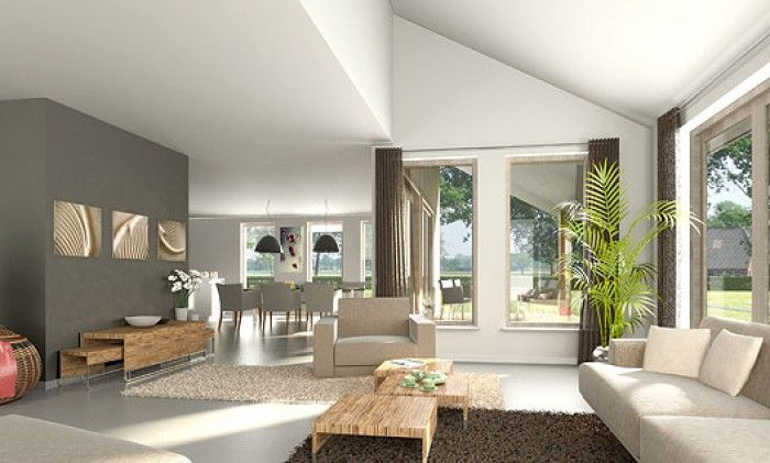 ... Klassiek: Interieur ideeen woonkamer donkere vloer warm wit hout
