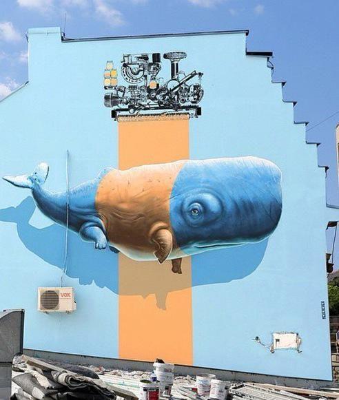 Best Urban Art Images On Pinterest Street Art Graffiti - Artist paints incredible seaside murals balanced on surfboard