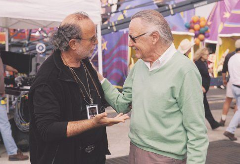 Executive Producer AVI ARAD (left) and Spider-Man creator STAN LEE on the set of Columbia Pictures' action adventure SPIDER-MAN.