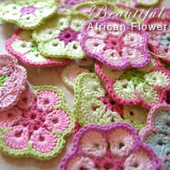Free pattern & tutorial crochet african flower. 6 petal
