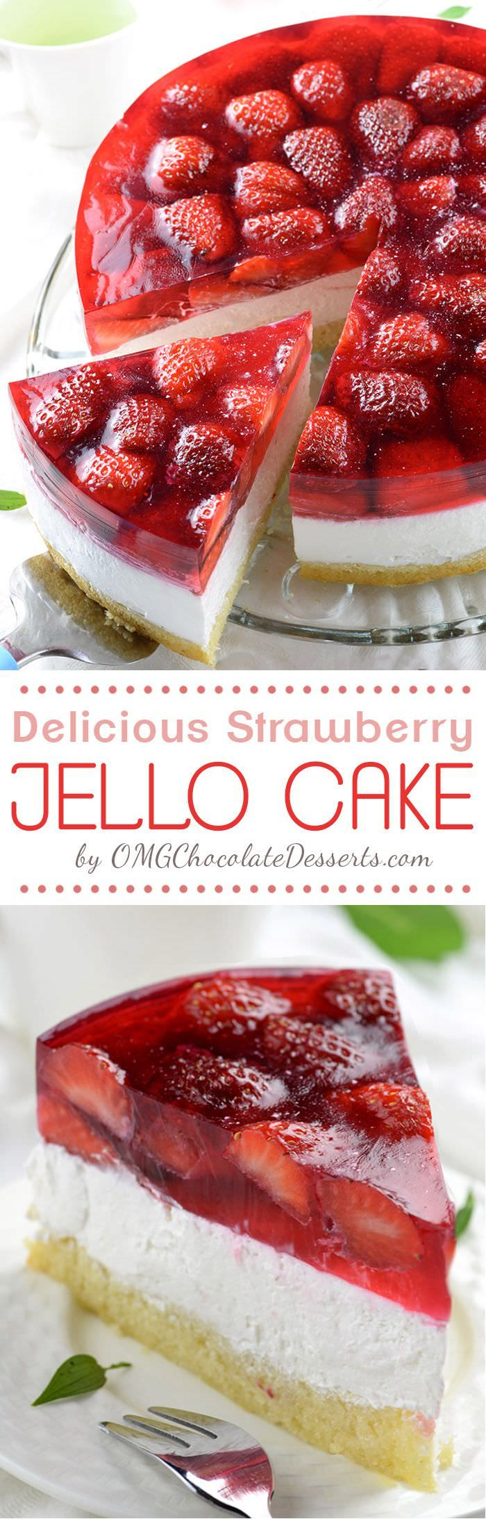 This Strawberry Jello Cake looks so amazing and not only this-- It's delicious too! A very light, fluffy, not too sweet and easy to assemble.