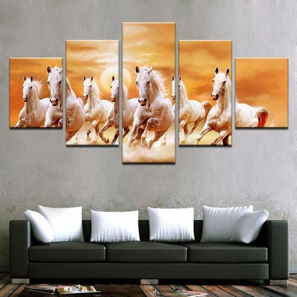 Seven Horses Horse Canvas Painting Horse Wall Art Hang Canvas Art