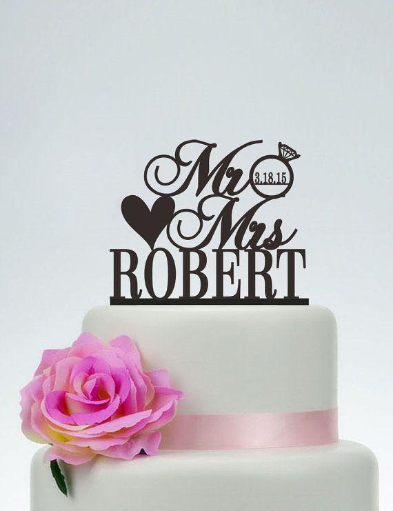Bruidstaart Topper, aangepaste taart Topper, mijnheer en mevrouw taart Topper met achternaam en datum, unieke taart Topper, gepersonaliseerde