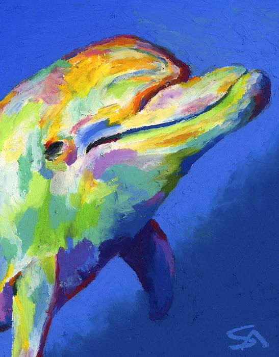 """dolphin, porpoise, marine, marine animals, blue, green, ocean, fish, sea, underwater, whale, dolphin portraits, dolphin paintings, vivid color paintings   stephen-anderson.pixels.com """"Born to Live Wild II"""""""