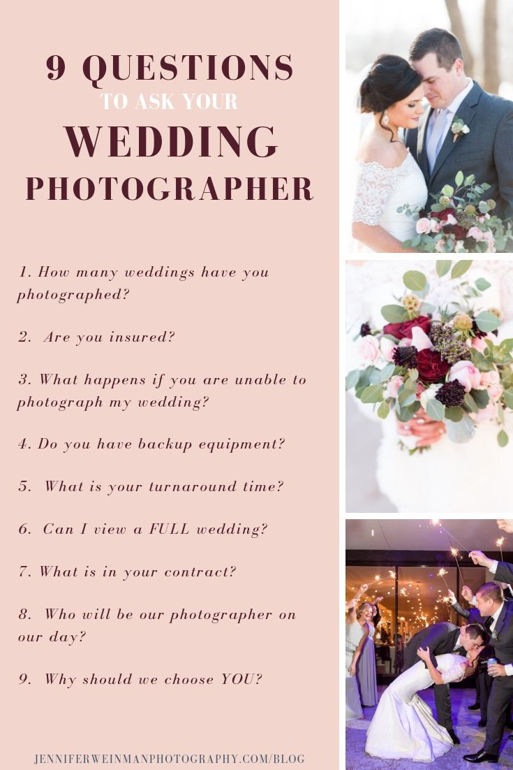9 Questions To Ask Your Wedding Photographer Wedding Planning Tips Wedding Photographer Questions Wedding Photography List