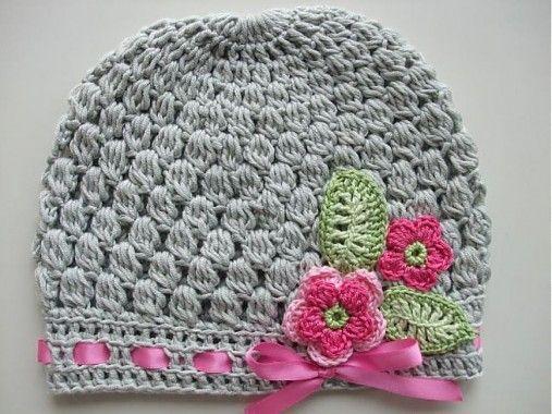 mischca / Sivá čiapočka s ružičkami