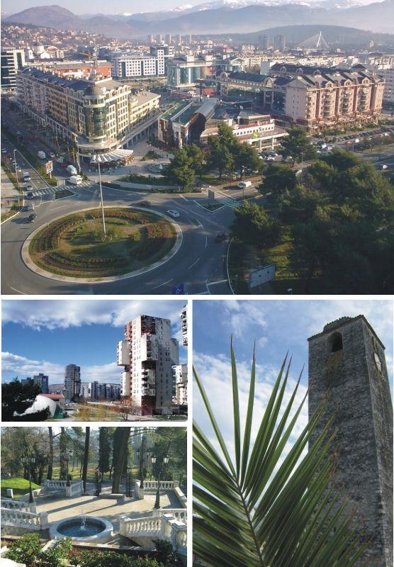 Podgorica. Capital y mayor ciudad de la República de Montenegro. La ciudad fue anteriormente conocida como Titogrado y Ribnica durante la etapa de la antigua Yugoslavia, y el nombre de la misma fue también históricamente transcrito al español como Podgoritza. // Península de Los Balcanes. Europa.