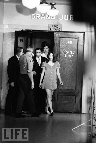 Susan Atkins leaves the grand jury room after testifying against Charles Manson in return for avoiding the death penalty in 1969.