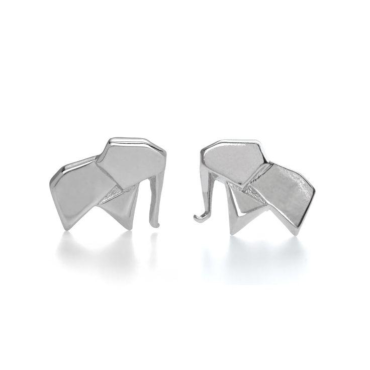 John Greed Origami Safari Ellie Rhodium Plated Silver Stud Earrings | John Greed Jewellery